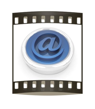 ed: 3d button email Internet push  on a white background. The film strip