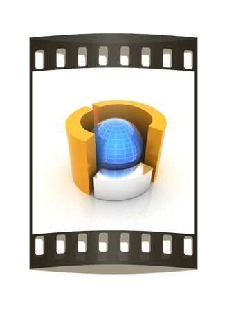 3D circular diagram and sphere on white background on a white background. The film strip photo