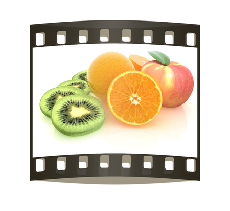apple orange: slices of kiwi, apple, orange and half orange on a white. The film strip Stock Photo