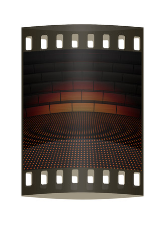 kinetic: Modern abstract scene with tribune. The film strip Stock Photo