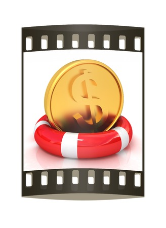 buoyancy: Coin dollar on  lifeline.The best 3d illustration on a white background. The film strip Stock Photo