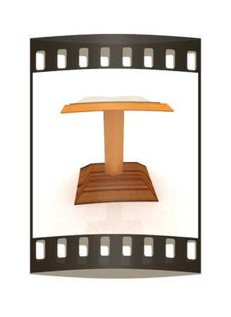 lectern: 3d render of podium with an open book. The film strip