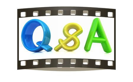 qs: 3d colorful text Q&S on a white background. The film strip Stock Photo