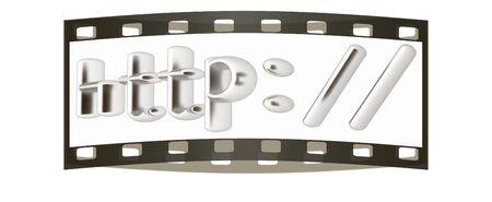 3d illustration internet metal sign http: on a white background. The film strip illustration