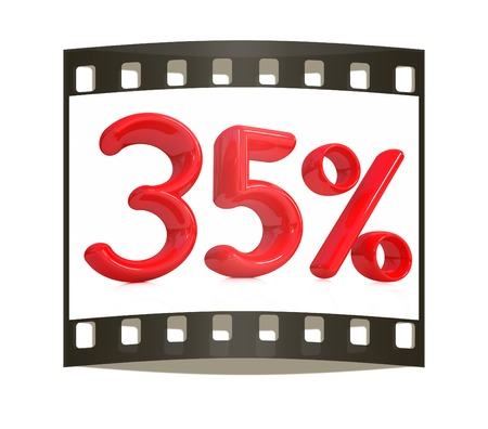 thirty five: 3d red 35 - thirty five percent on a white background. The film strip Stock Photo