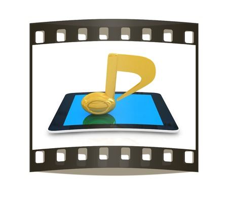 mpg: yellow note on the tablet pc on a white background. The film strip