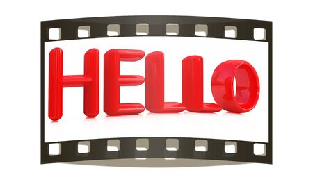 greet: 3d red text hello on a white background. The film strip Stock Photo