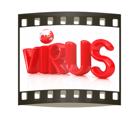infective: 3d red text virus on a white background. The film strip
