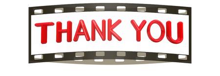"""agradecimiento: """"Gracias"""" texto rojo 3d sobre un fondo blanco. La tira de pel�cula Foto de archivo"""