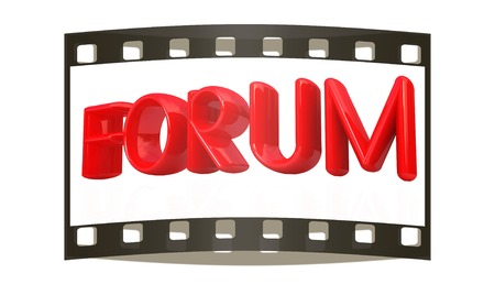 weblog: forum 3d red text on a white background. The film strip