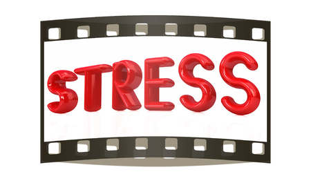 debt trap: stress 3d text on a white background. The film strip