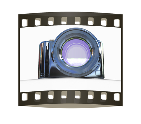 polarized: 3d illustration of photographic camera on white background. The film strip