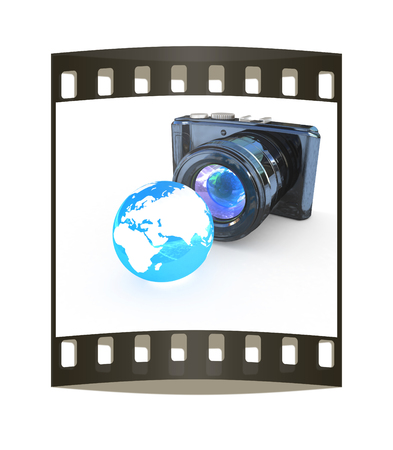 3d illustration of photographic camera and Earth on white background. The film strip illustration