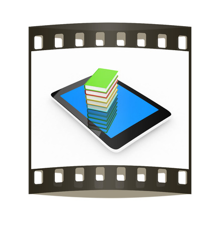 multitouch: tablet pc and colorful real books on white background. The film strip