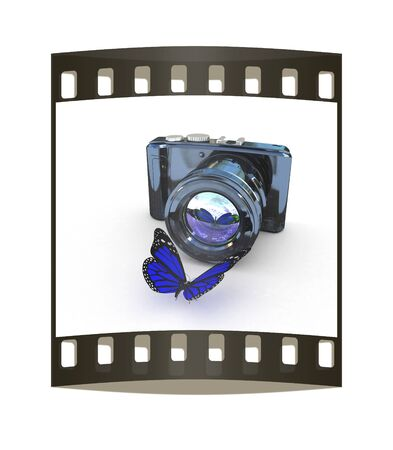3d illustration of photographic camera and butterfly on white background. The film strip illustration