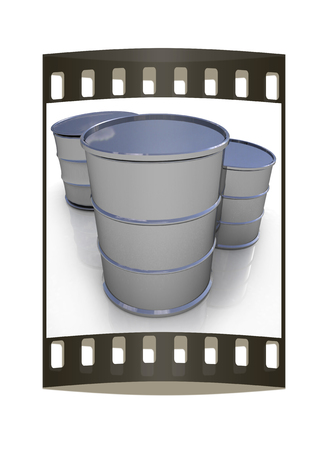 steel drum: Metal barrels on white background. The film strip Stock Photo