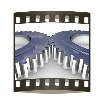 Gear set on a white background. The film strip photo