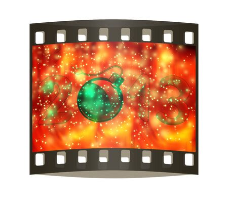 Year 2013 with bomb burning a festive background. The film strip photo