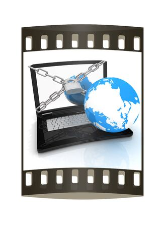 lock and chain: Laptop with lock, chain and earth on a white background. The film strip Stock Photo