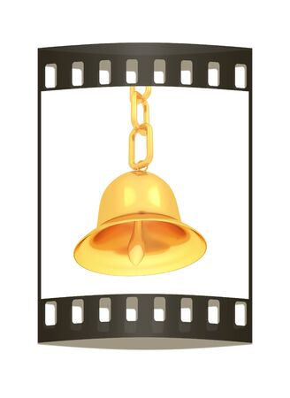 Gold bell on a white background. The film strip photo