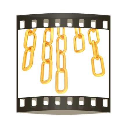 gold chains on white background - 3d illustration. The film strip illustration