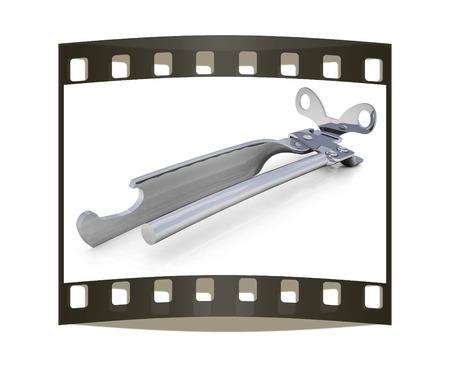 chrome base: Un apriscatole isolato su uno sfondo bianco (clipping path). La striscia di pellicola