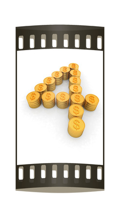 the number four of gold coins with dollar sign on a white background. The film strip photo