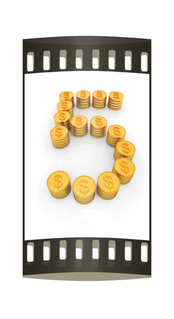 the number five of gold coins with dollar sign on a white background. The film strip photo