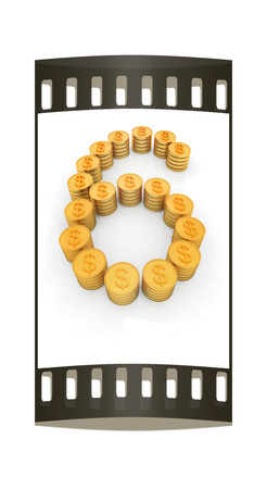 the number six of gold coins with dollar sign on a white background. The film strip photo
