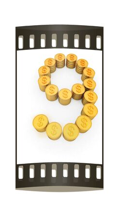 the number nine of gold coins with dollar sign on a white background. The film strip photo