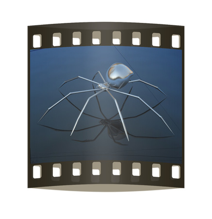 ugliness: Chrome spider on a white background. The film strip