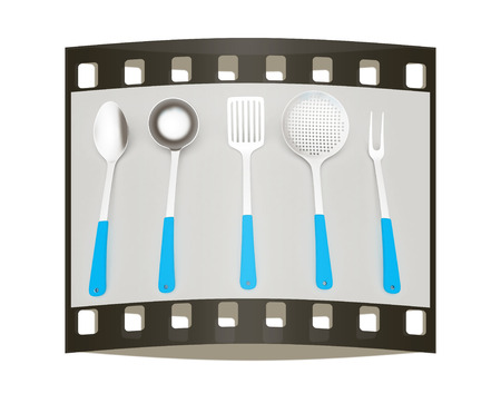 gray strip: cutlery on a light gray background. The film strip