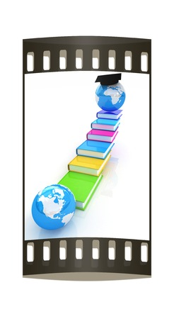 globally: The growth of education. Globally. The film strip Stock Photo