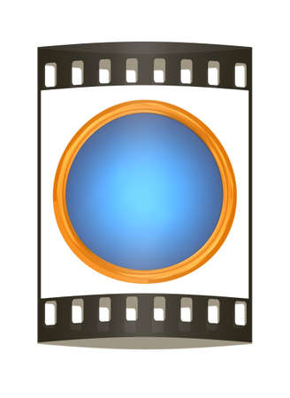 shiny button: Shiny button isolated on white background. The film strip