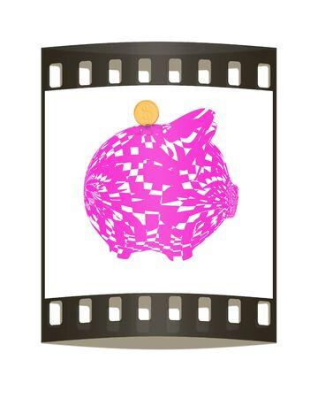 valentinas: Valentinas piggy bank isolated on white background. The film strip Stock Photo