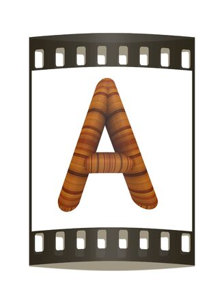 prinitng block: Wooden Alphabet. Letter A on a white background. The film strip