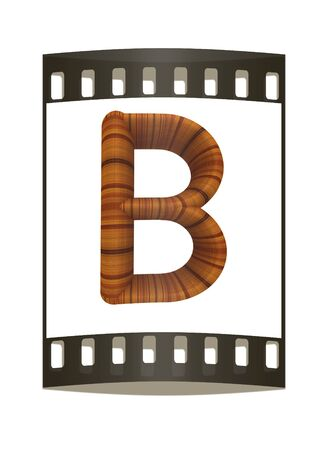 prinitng block: Wooden Alphabet. Letter B on a white background. The film strip