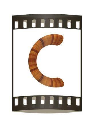 prinitng block: Wooden Alphabet. Letter C on a white background. The film strip