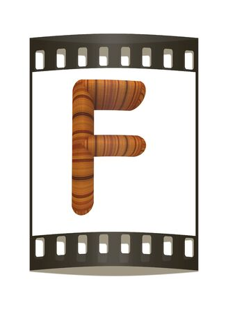 prinitng block: Wooden Alphabet. Letter F on a white background. The film strip