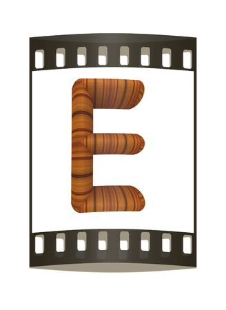 prinitng block: Wooden Alphabet. Letter E on a white background. The film strip Stock Photo