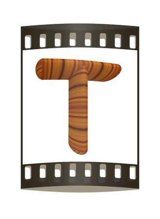 prinitng block: Wooden Alphabet. Letter T on a white background. The film strip