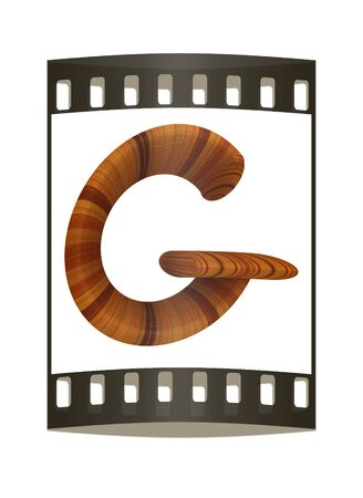 prinitng block: Wooden Alphabet. Letter G on a white background. The film strip