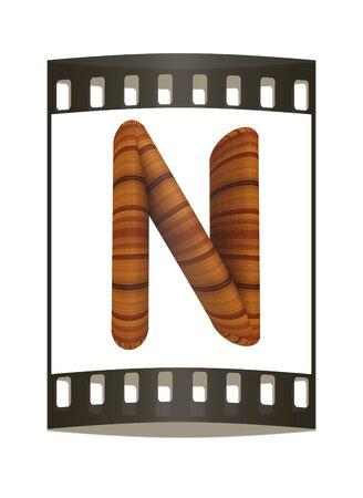 prinitng block: Wooden Alphabet. Letter N on a white background. The film strip