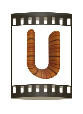 prinitng block: Wooden Alphabet. Letter U on a white background. The film strip