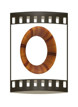prinitng block: Wooden Alphabet. Letter O on a white background. The film strip Stock Photo