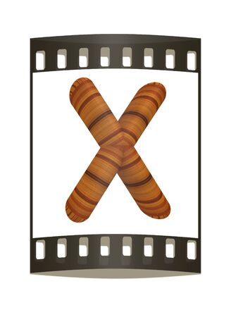 prinitng block: Wooden Alphabet. Letter X on a white background. The film strip Stock Photo