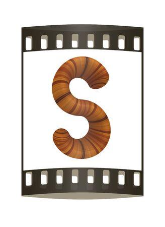 prinitng block: Wooden Alphabet. Letter S on a white background. The film strip Stock Photo