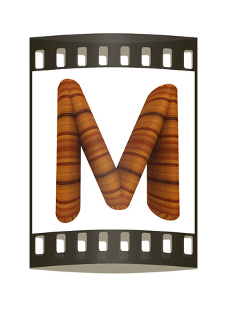 prinitng block: Wooden Alphabet. Letter M on a white background. The film strip