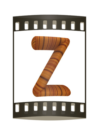 prinitng block: Wooden Alphabet. Letter Z on a white background. The film strip