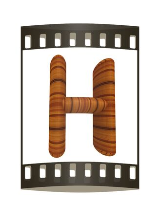 prinitng block: Wooden Alphabet. Letter H on a white background. The film strip